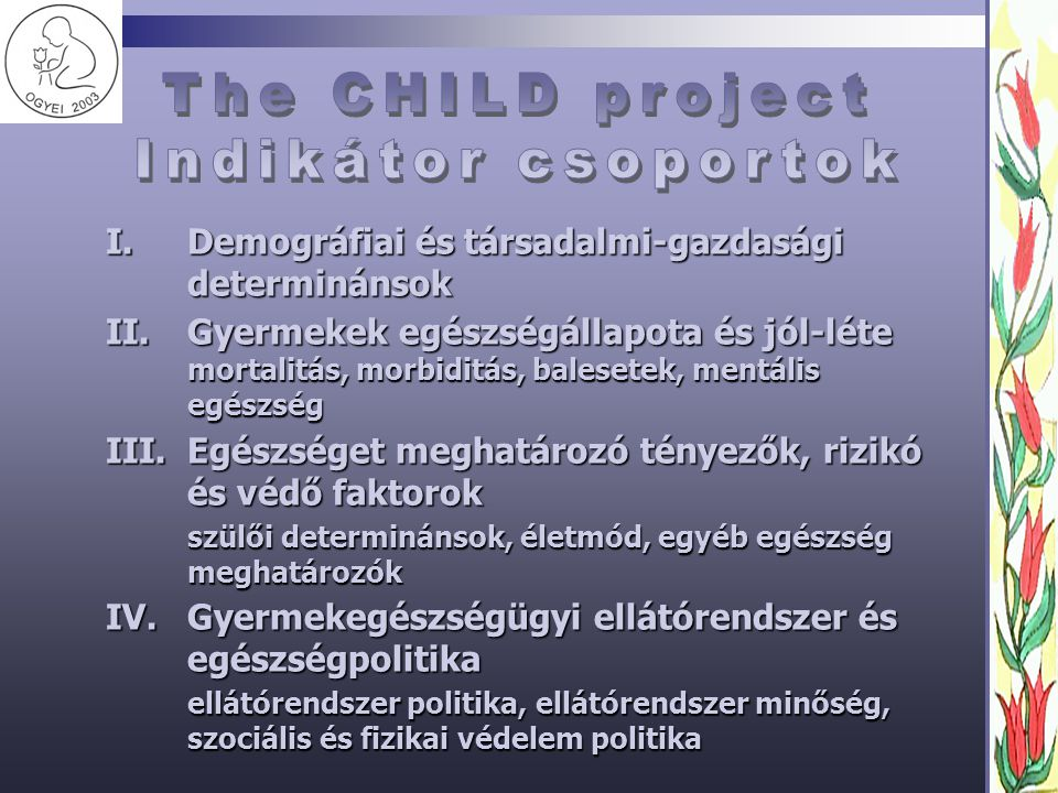 The CHILD project Indikátor csoportok