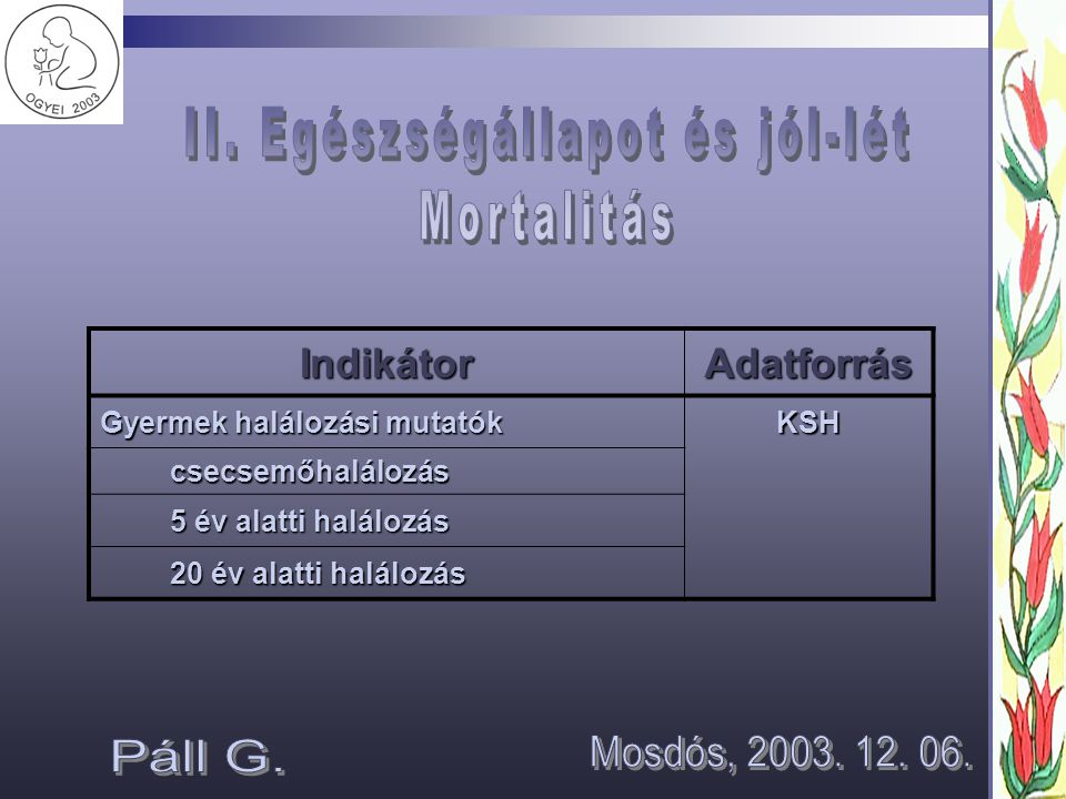 II. Egészségállapot és jól-lét