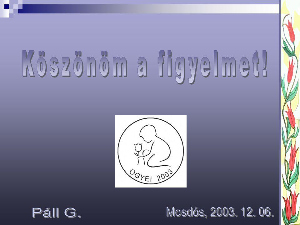 Köszönöm a figyelmet! Páll G. Mosdós, 2003. 12. 06.