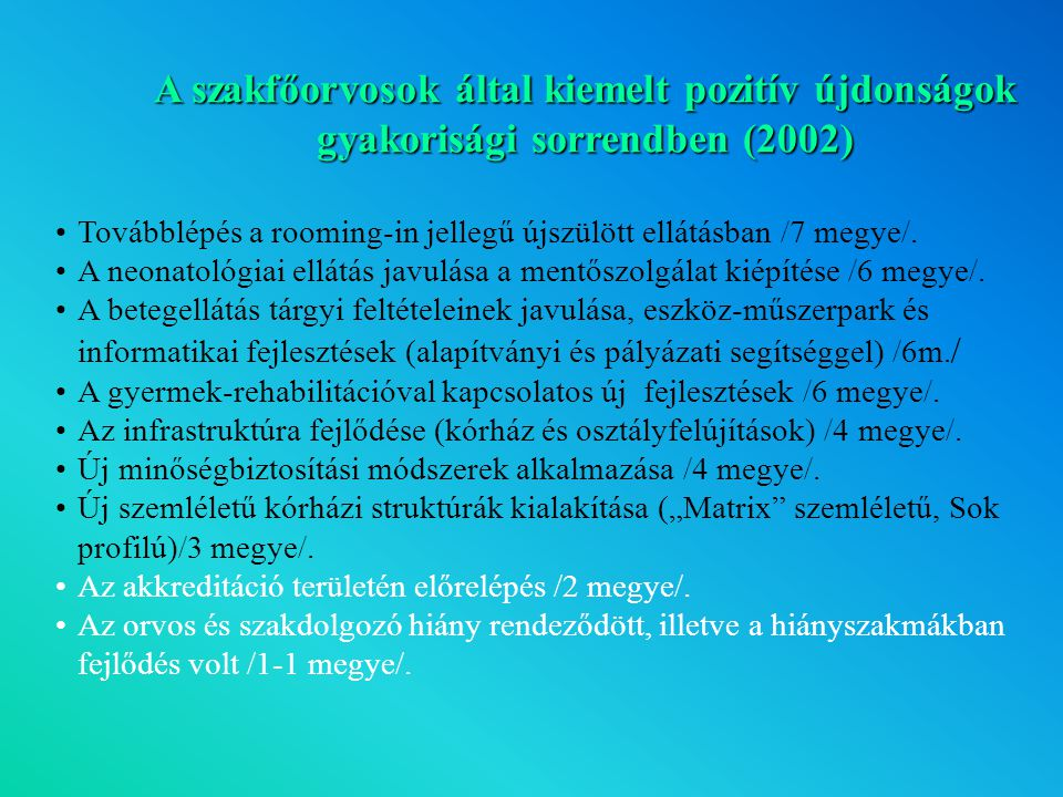 A szakfőorvosok által kiemelt pozitív újdonságok gyakorisági sorrendben (2002)