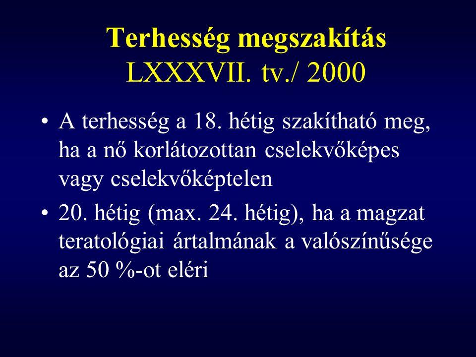 Terhesség megszakítás LXXXVII. tv./ 2000