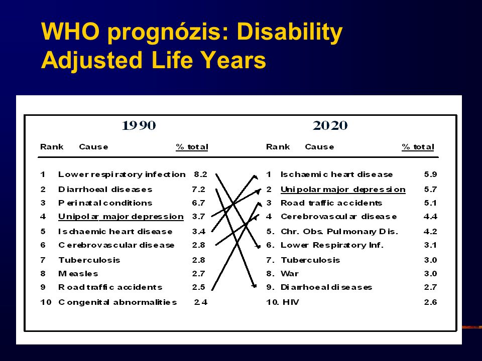 WHO prognózis: Disability Adjusted Life Years