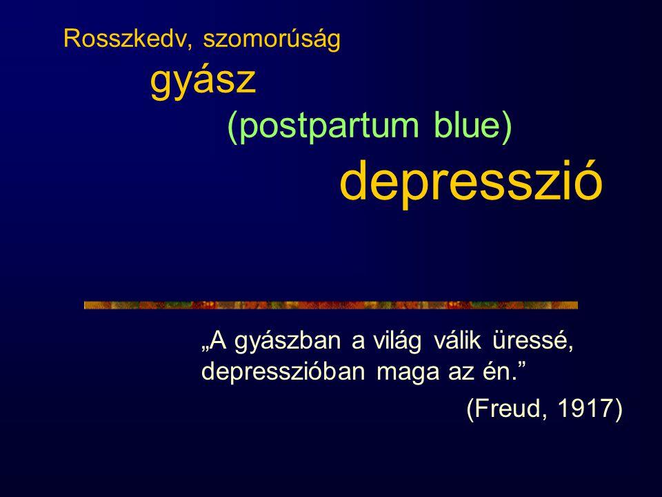 Rosszkedv, szomorúság gyász (postpartum blue) depresszió