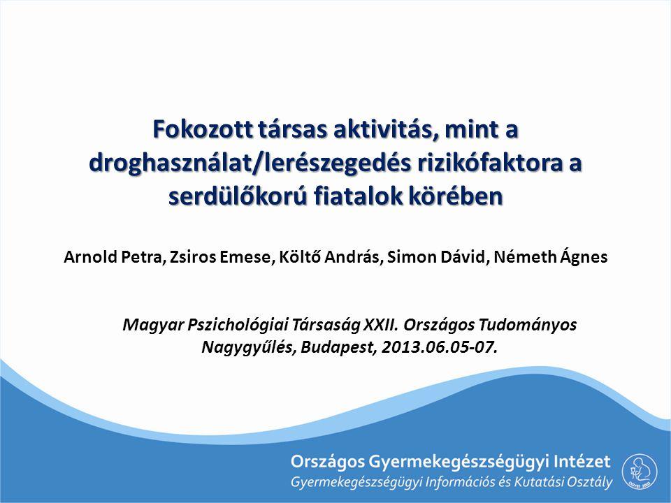 Fokozott társas aktivitás, mint a droghasználat/lerészegedés rizikófaktora a serdülőkorú fiatalok körében Arnold Petra, Zsiros Emese, Költő András, Simon Dávid, Németh Ágnes