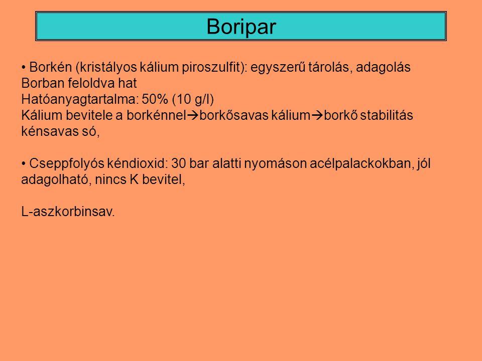 Boripar Borkén (kristályos kálium piroszulfit): egyszerű tárolás, adagolás. Borban feloldva hat. Hatóanyagtartalma: 50% (10 g/l)