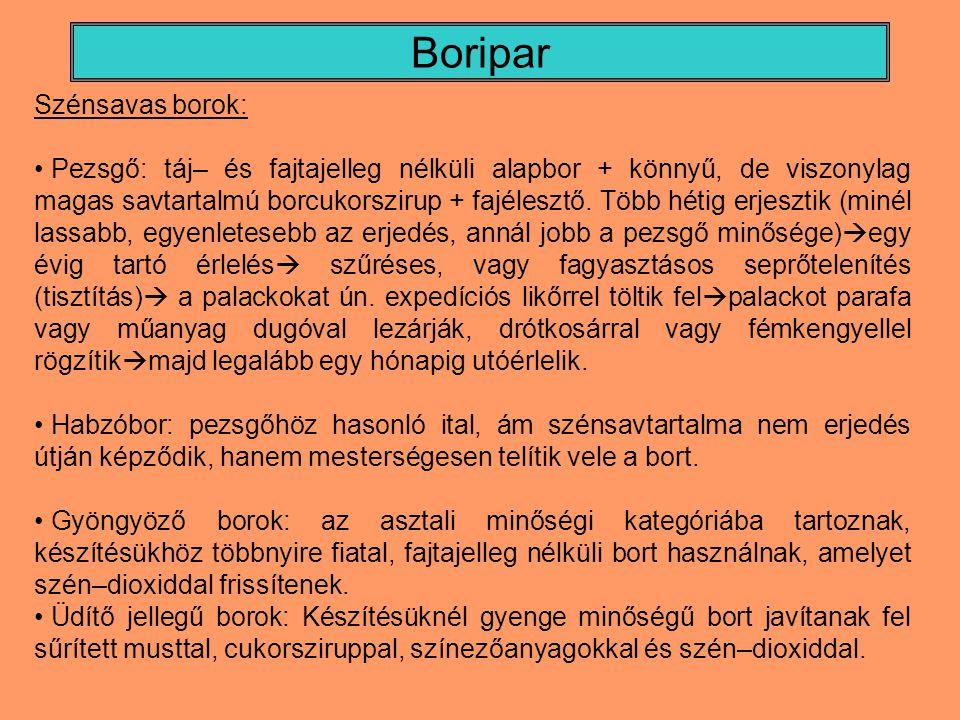 Boripar Szénsavas borok: