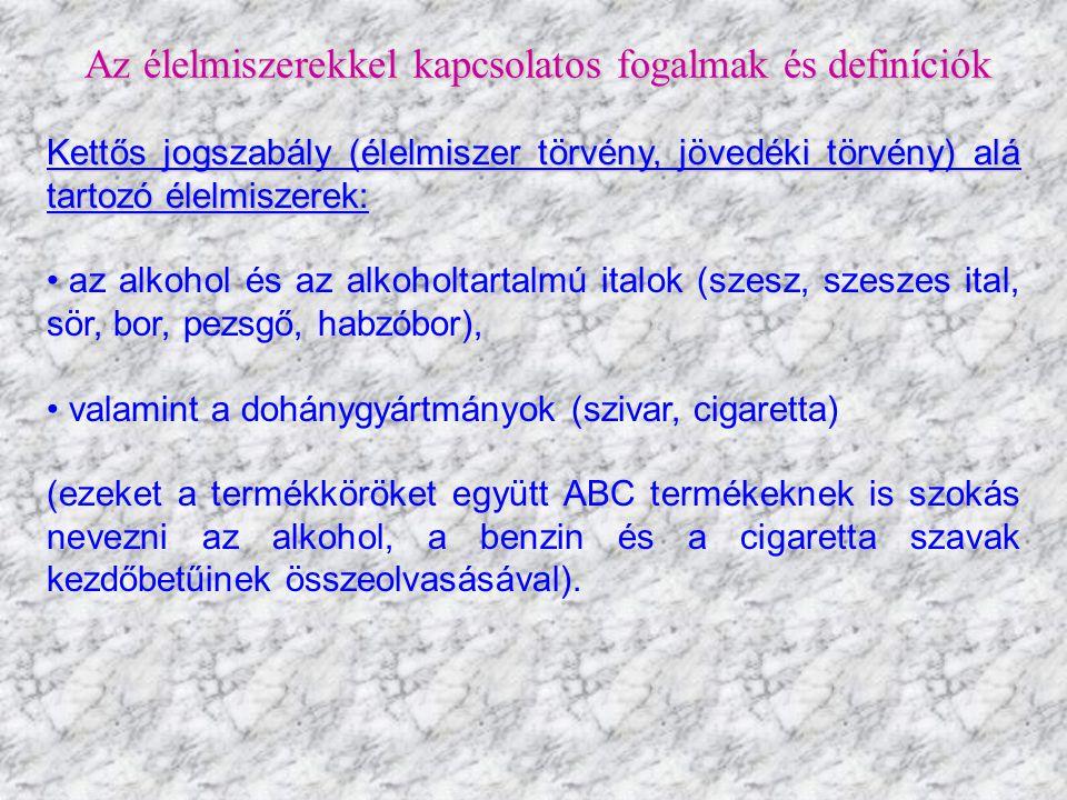 Az élelmiszerekkel kapcsolatos fogalmak és definíciók