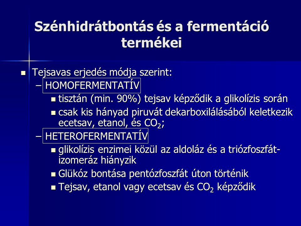 Szénhidrátbontás és a fermentáció termékei