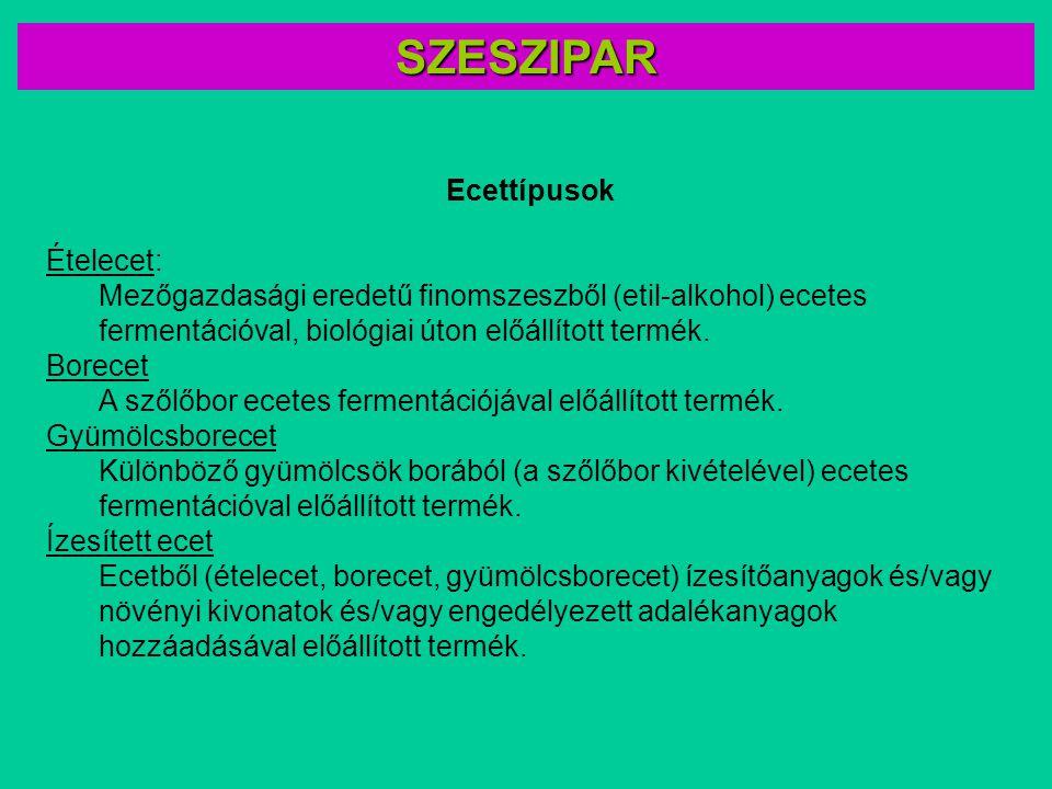SZESZIPAR Ecettípusok Ételecet: