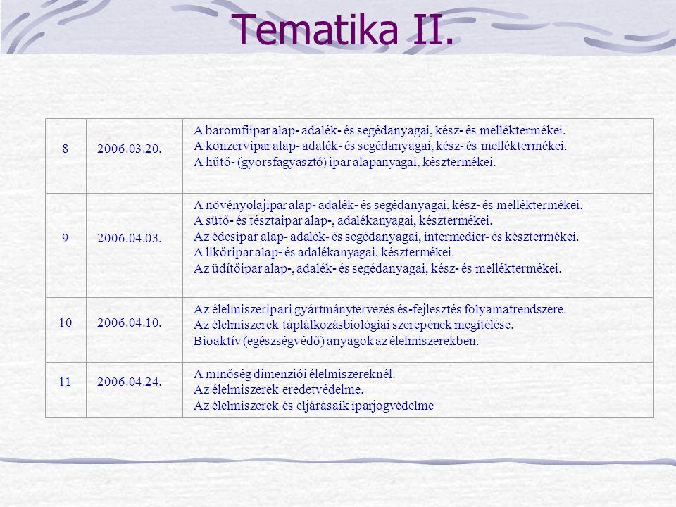 Tematika II. 8. 2006.03.20. A baromfiipar alap- adalék- és segédanyagai, kész- és melléktermékei.