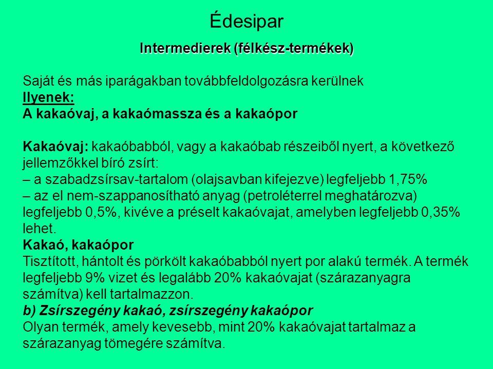 Intermedierek (félkész-termékek)