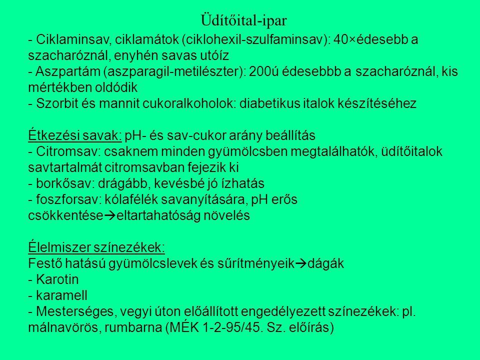 Üdítőital-ipar Ciklaminsav, ciklamátok (ciklohexil-szulfaminsav): 40×édesebb a szacharóznál, enyhén savas utóíz.