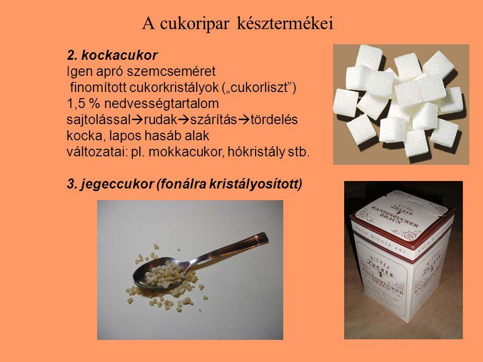A cukoripar késztermékei