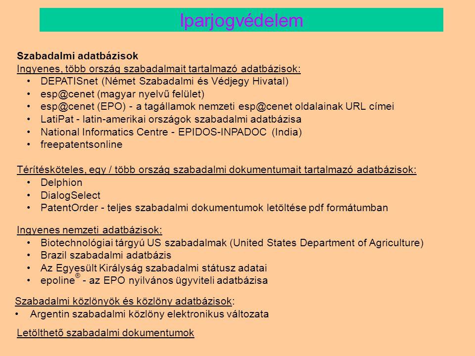 Iparjogvédelem Szabadalmi adatbázisok