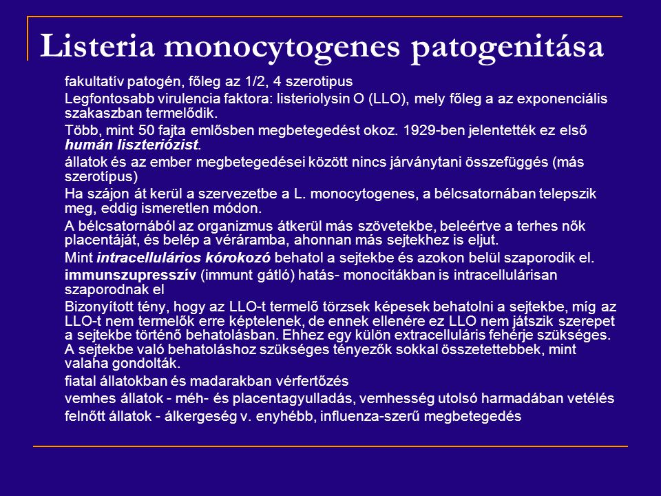 Listeria monocytogenes patogenitása