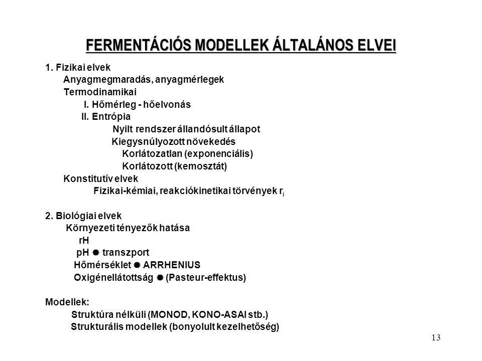 FERMENTÁCIÓS MODELLEK ÁLTALÁNOS ELVEI