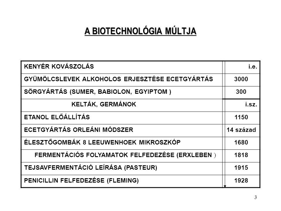 A BIOTECHNOLÓGIA MÚLTJA
