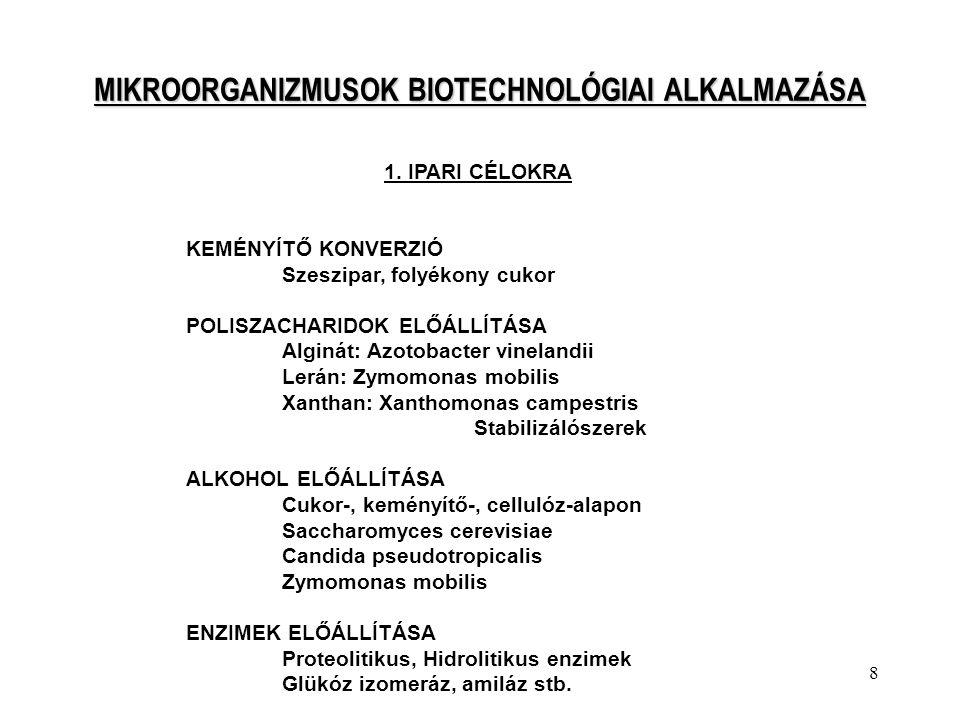 MIKROORGANIZMUSOK BIOTECHNOLÓGIAI ALKALMAZÁSA