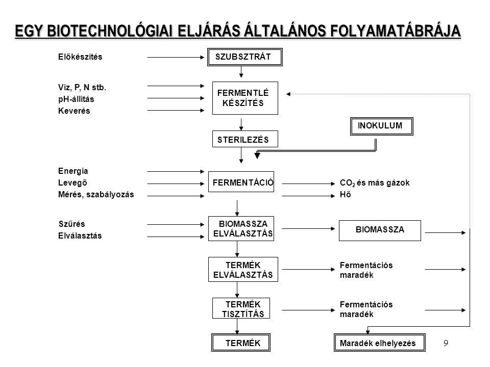 EGY BIOTECHNOLÓGIAI ELJÁRÁS ÁLTALÁNOS FOLYAMATÁBRÁJA