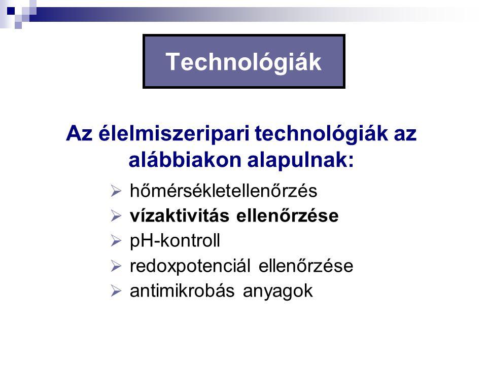 Az élelmiszeripari technológiák az alábbiakon alapulnak: