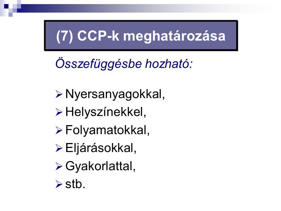 (7) CCP-k meghatározása