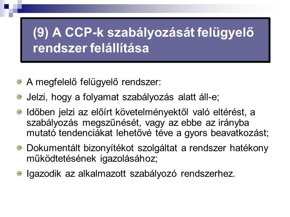 (9) A CCP-k szabályozását felügyelő rendszer felállítása