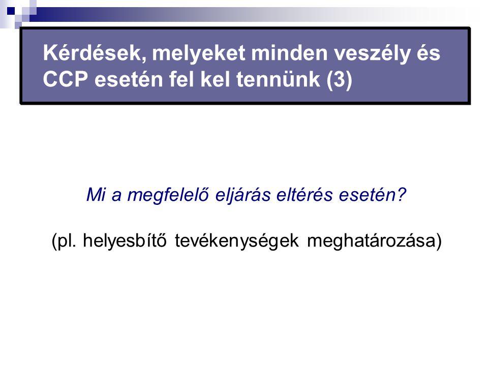 Kérdések, melyeket minden veszély és CCP esetén fel kel tennünk (3)