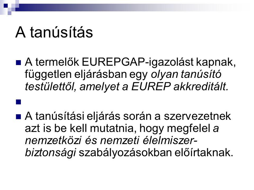 A tanúsítás A termelők EUREPGAP-igazolást kapnak, független eljárásban egy olyan tanúsító testülettől, amelyet a EUREP akkreditált.
