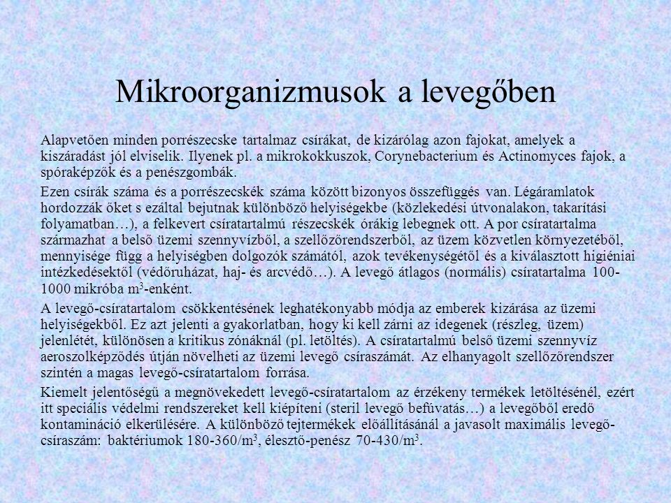 Mikroorganizmusok a levegőben