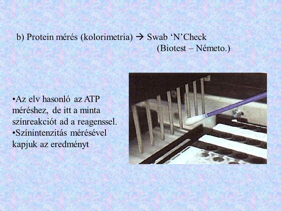 b) Protein mérés (kolorimetria)  Swab 'N'Check