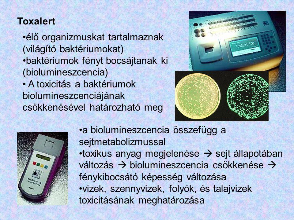 Toxalert élő organizmuskat tartalmaznak (világító baktériumokat) baktériumok fényt bocsájtanak ki (biolumineszcencia)