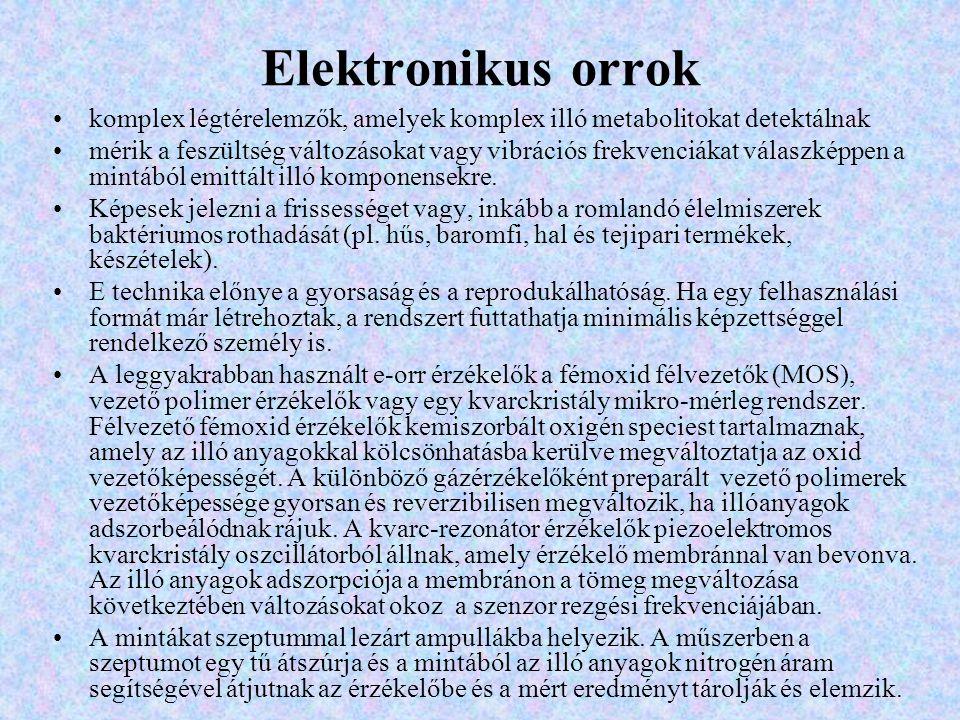 Elektronikus orrok komplex légtérelemzők, amelyek komplex illó metabolitokat detektálnak.