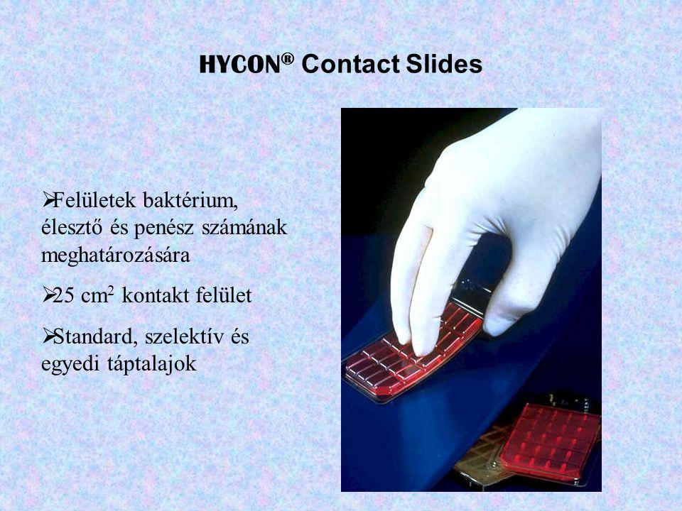 HYCON® Contact Slides Felületek baktérium, élesztő és penész számának meghatározására. 25 cm2 kontakt felület.