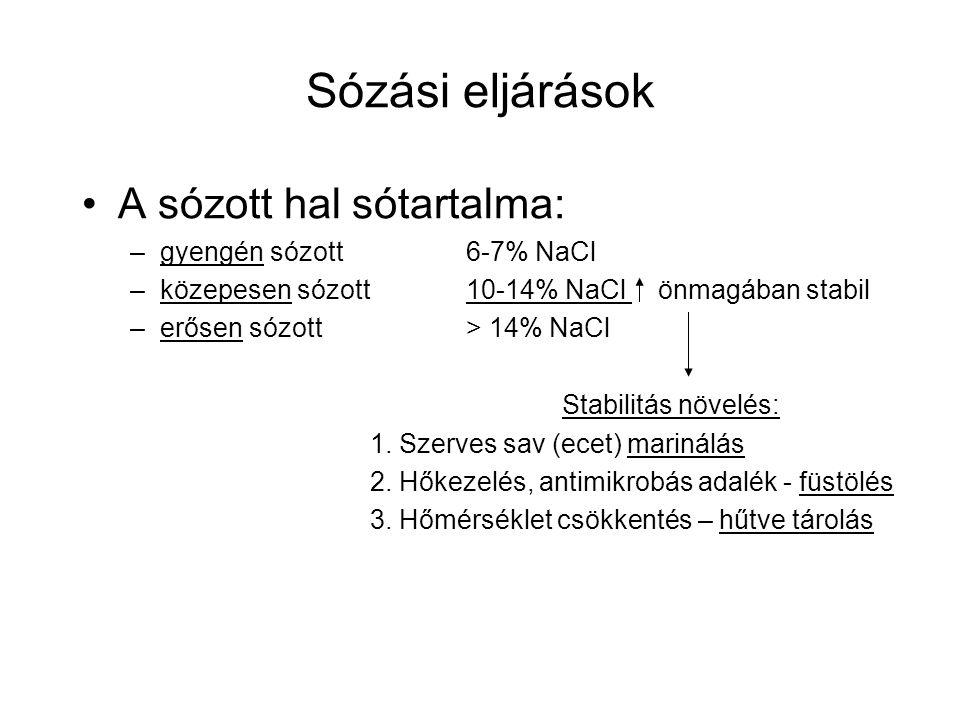 Sózási eljárások A sózott hal sótartalma: gyengén sózott 6-7% NaCl