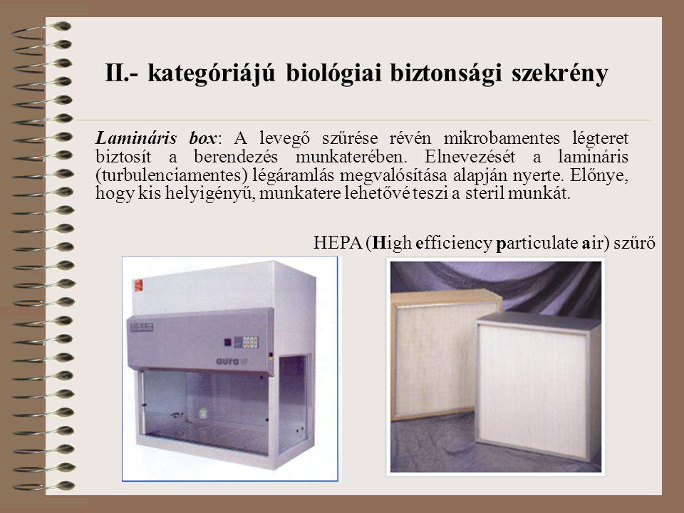II.- kategóriájú biológiai biztonsági szekrény