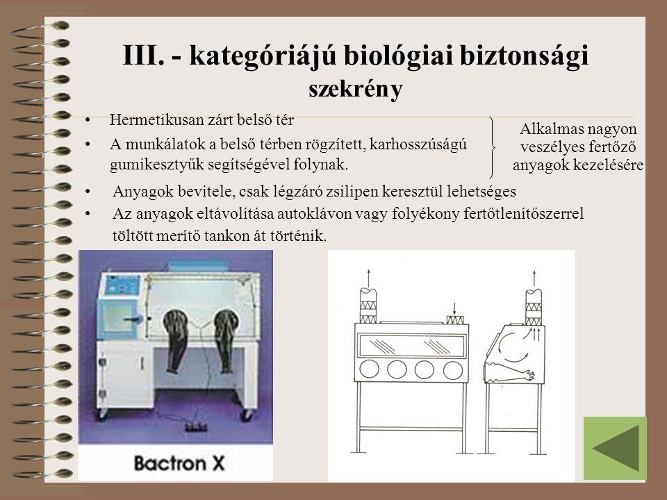 III. - kategóriájú biológiai biztonsági szekrény