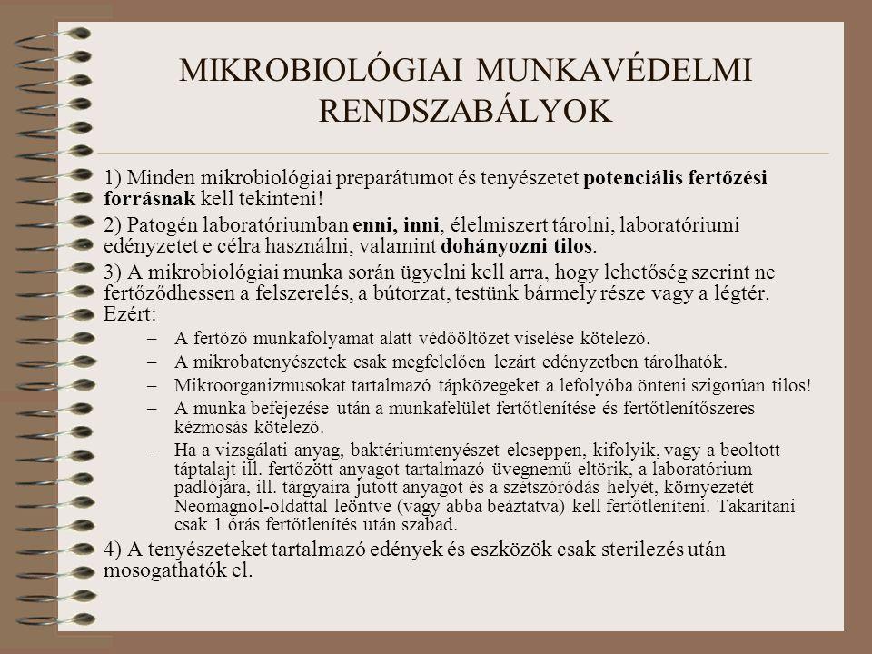 MIKROBIOLÓGIAI MUNKAVÉDELMI RENDSZABÁLYOK