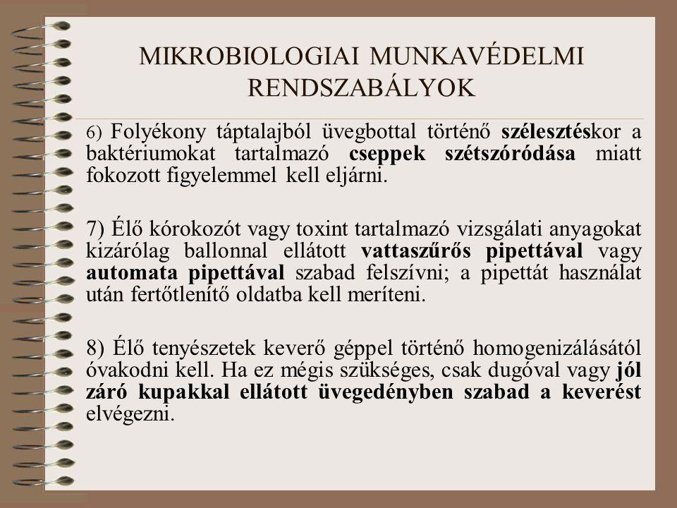 MIKROBIOLOGIAI MUNKAVÉDELMI RENDSZABÁLYOK