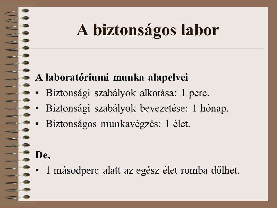 A biztonságos labor A laboratóriumi munka alapelvei