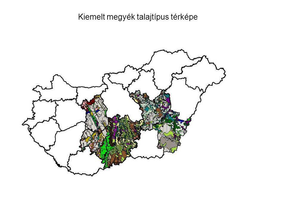 Kiemelt megyék talajtípus térképe
