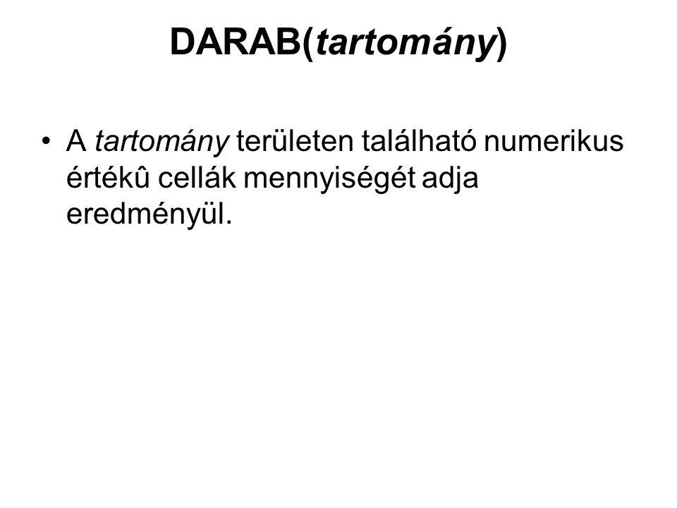 DARAB(tartomány) A tartomány területen található numerikus értékû cellák mennyiségét adja eredményül.