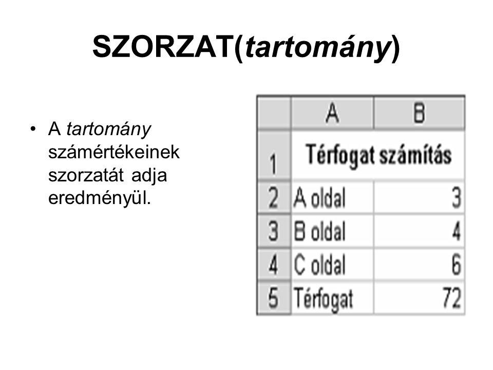 SZORZAT(tartomány) A tartomány számértékeinek szorzatát adja eredményül.