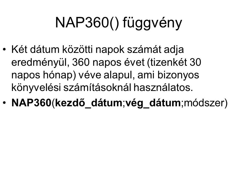 NAP360() függvény