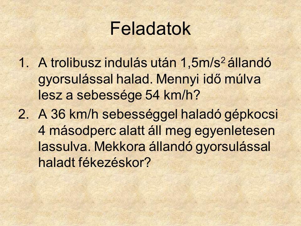 Feladatok A trolibusz indulás után 1,5m/s2 állandó gyorsulással halad. Mennyi idő múlva lesz a sebessége 54 km/h