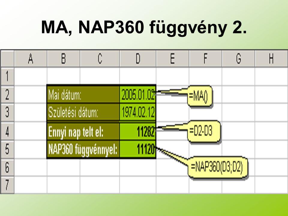 MA, NAP360 függvény 2.