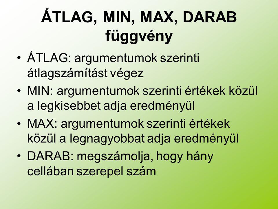 ÁTLAG, MIN, MAX, DARAB függvény