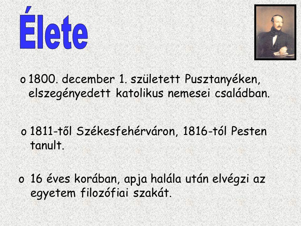 Élete 1800. december 1. született Pusztanyéken, elszegényedett katolikus nemesei családban. 1811-től Székesfehérváron, 1816-tól Pesten tanult.