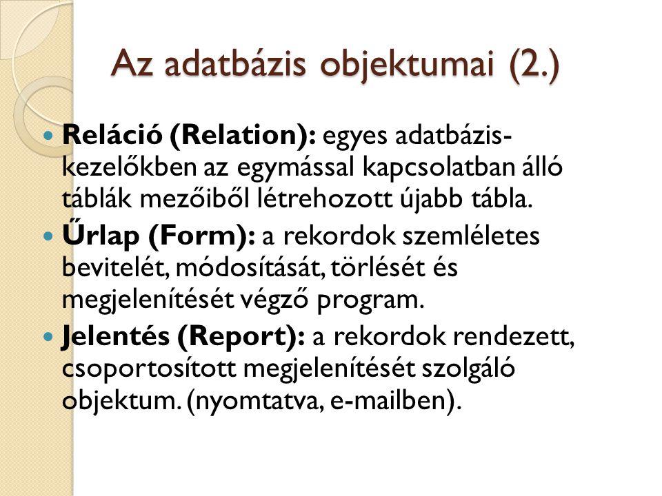 Az adatbázis objektumai (2.)