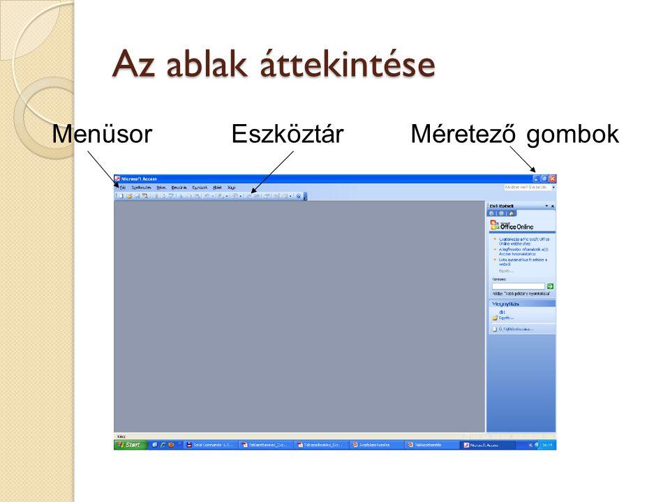 Az ablak áttekintése Menüsor Eszköztár Méretező gombok