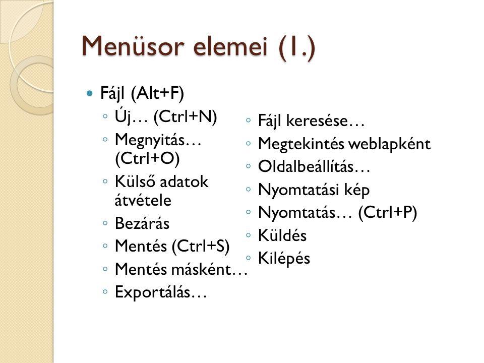 Menüsor elemei (1.) Fájl (Alt+F) Új… (Ctrl+N) Fájl keresése…
